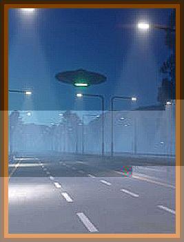 Greenish Light Seen Above Road